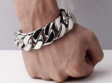 【FROM USA】Rocker Biker 7 inch Cuban Curb Titanium 25mm Stainless Steel Bracelet