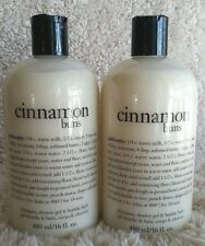 Philosophy Set 2 Cinnamon Buns 16oz Shampoo Shower Gel Bubble Bath NEW SEALED