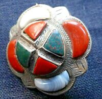 Victorian Scottish Agate Pebble Brooch Small Antique Sterling Kilt Pin c1890