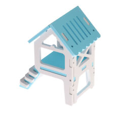 Hamster Mouse Gerbil Small Animal Wood Cage House Hut Cage Accessories Blue