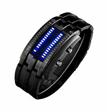 Binary Matrix Blue LED Digital Waterproof Watch Mens Classic Cr... Free Shipping