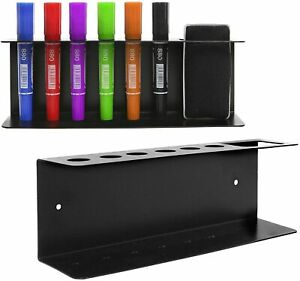 Wall Mountable Metal 6-Slot Dry Erase Whiteboard Pens & Eraser Rack Tray, Black