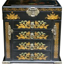 Black Chinese Painted Lacquer Jewellery Box with Mirror Large New (MB-M43B-FL)