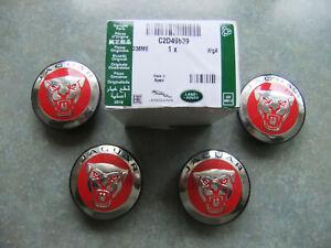 GENUINE JAGUAR ALLOY WHEEL CAP RED GROWLER SET 4  XF, XE, XJ6, XJ8, XJR XKR,XKR,