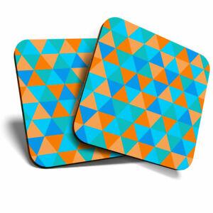 2 x Coasters - Blue Orange Triangle Pattern Design Home Gift #21585