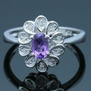 Sterling Silver Pave Set & Prong 6x4mm Amethyst Natural SI Diamonds Flower Ring