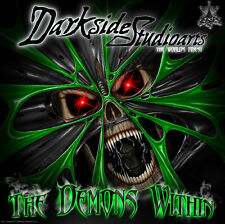 """YAMAHA RAPTOR 350 GRAPHICS GREEN ACCENTS DECALS WRAP KIT """"THE DEMONS WITHIN"""""""