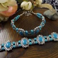 Vintage Tibet Silver Multicolor Jade Turquoise Bead Bracelet Jewelery