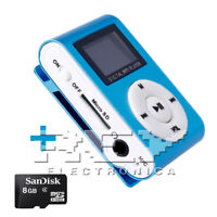 Reproductor MP3 CLIP con Pantalla LCD Color Azul + MicroSD 8 Gb d50/v52