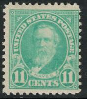 Scott 563- MNH- 11c Rutherford Hayes- Flat Plate Issue, Perf 11- 1922-25- unused