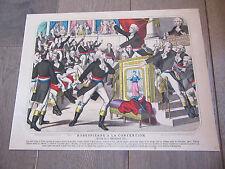 lithographie AQUARELLEE 1850 robespierre a la convention