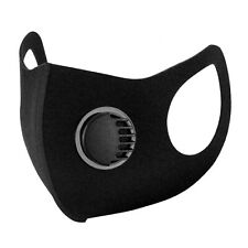 Face Mask Protective Mouth Covering Washable Reusable Adult PM 2.5 + Valve Black