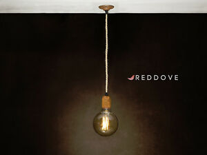 Single Industrial Rusted and roped cable ceiling light pendant free UK P&P