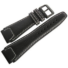 24mm Fluco Pilot German Made Black PVD BUCKLE Mens Leather Watch Band Strap