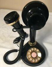 Vintage 70s Candlestick Rotary Dial Telephone Black & Brass Retro Antique Phone