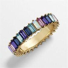 Rainbow ring thin line micro pave cz eternity 9 colors stack Simple Luxury Retro