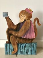 "JOCKO MONKEY 1993 Signed Outsider Art 24"" Tall OOAK Painted Plywood Sculpture"