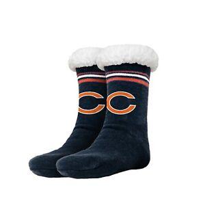 Chicago Bears Women's Stripe Logo Tall Footy Slippers - Size 6-10 NEW! Non Skid