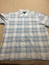 Andrew Fezza Men's short sleeve shirt XXL- Blue and white plaid