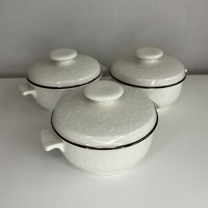 Royal Doulton Lambeth Stoneware 1974 Foral Design SET OF 3 Lidded Oven Dishes
