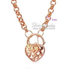 24k Rose Gold GF N11 Ladies Vintage Belcher Heart Padlock Rings Solid Necklace