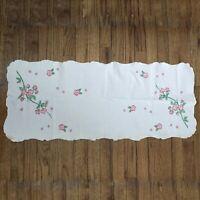 Vtg Embroidered Dresser Scarf Table Runner Farmhouse Country Cottage Shabby