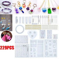 DIY 229Pcs Resin Casting Molds Kit Silicone Making Jewelry Pendant Mould Craft