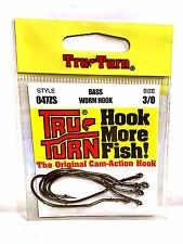 Tru-Turn Bass Worm Fishing Hooks Size 3/0