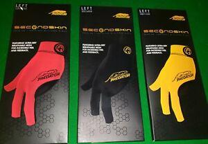 Predator Pool/Snooker Glove 2nd Second Skin Yellow, Black, Red Left Bridge Hand