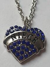 BLUE  NIECE FAMILY GIFT CRYSTAL LOVE HEART PENDANT RHINESTONE NECKLACE