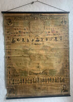 1872 World Wall Map Linen Backed With Wooden Rollers 98 cm x 75 cm by Bacon