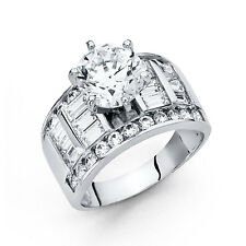 14k White Gold 3.50 Ct Diamond Engagement Ring Wedding Ring Solitaire Baguette
