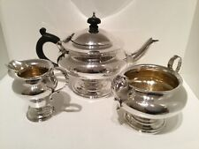 Charming 3 Piece Solid Sterling Silver Bachelor Tea Service Set London 1907
