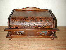 ANTIQUE WOODEN FOOTED JEWELRY BOX CHEST WITH VINTAGE EMBOSSED MAP ON LID