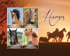 GHANA 2015 MUSTANG HORSES SHEETLET OF 4 MNH