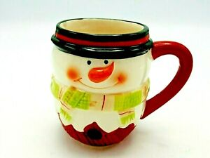 Porcelain Hot Chocolate Coffee Cup Snowman Holiday Mug Handpainted Happy Face