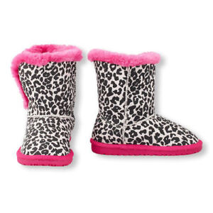 NWT The Children's Place Girls Leopard Print Pink Faux Fur Chalet Boots 10
