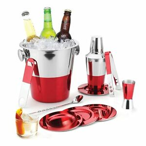 Imperial 10 Pcs Stainless Steel Red Lacquered Bartending Kit Tool Bar Set