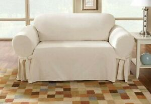 SUREFIT Loveseat Slipcover Relaxed Fit Side Ties 1Pc Cotton Sailcloth Natural