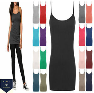 WOMENS LADIES VEST TOP PLUS SIZE STRAPPY TANK TOP STRETCHY CAMI BODYCON JERSEY