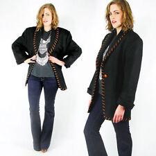 Vintage Black Southwest Southwestern Whipstitch Oversize Blazer Jacket Coat S M