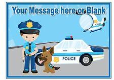 Nd2 auto della polizia Cartoon Compleanno Personalizzati a4 cake topper glassa Foglio