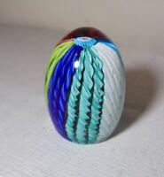 vintage hand blown ITALIAN Murano art studio glass egg shaped paperweight .