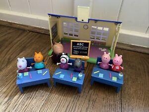 PEPPA PIG CLASSROOM SCHOOL Bundle- with Madame Gazelle & 6 Figures-lots Listed