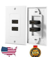 2-Port Dual HDMI Wall Face Plate Panel Cover Outlet 1080P 4K ARC HDR White