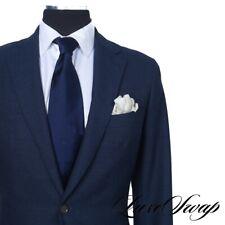 #1 MENSWEAR Kent Wang Solid Navy Blue Huddersfield Wool Fresco Patch Pkt Suit 38