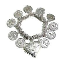 Silver Love Heart Coin Charm Stretch Elastic Bracelet Bangle Women Jewellery UK