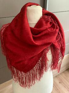 Seidentuch Trachtentuch Dirndltuch großes Tuch + Fransen rot