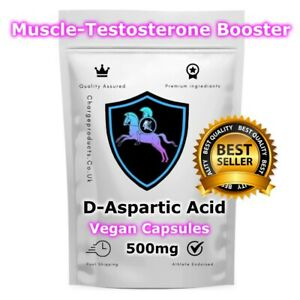 D-Aspartic Acid 120 Capsules  500MG DAA Testosterone Muscle Growth Boost