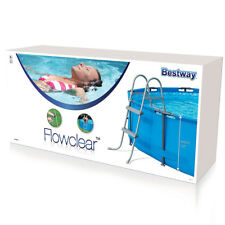 More details for bestway flowclear 33 inch above ground metal frame swimming pool step ladder